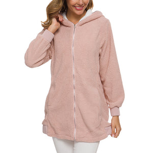 Women's Warm Zipper Hooded Cardigan Coat Pocket Hoodie Outerwear Plus Size