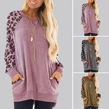 Load image into Gallery viewer, Women's Leopard Print Round Neck Pocket Sweater  Long Sleeve Loose Pullover Tops