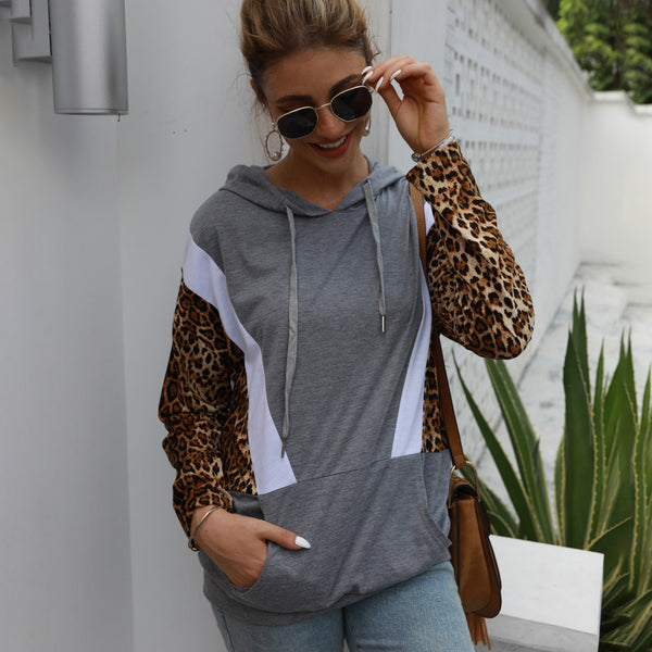Women Leopard Splice Drawstring Tops Hooded Sweatshirts Pullover Pocket
