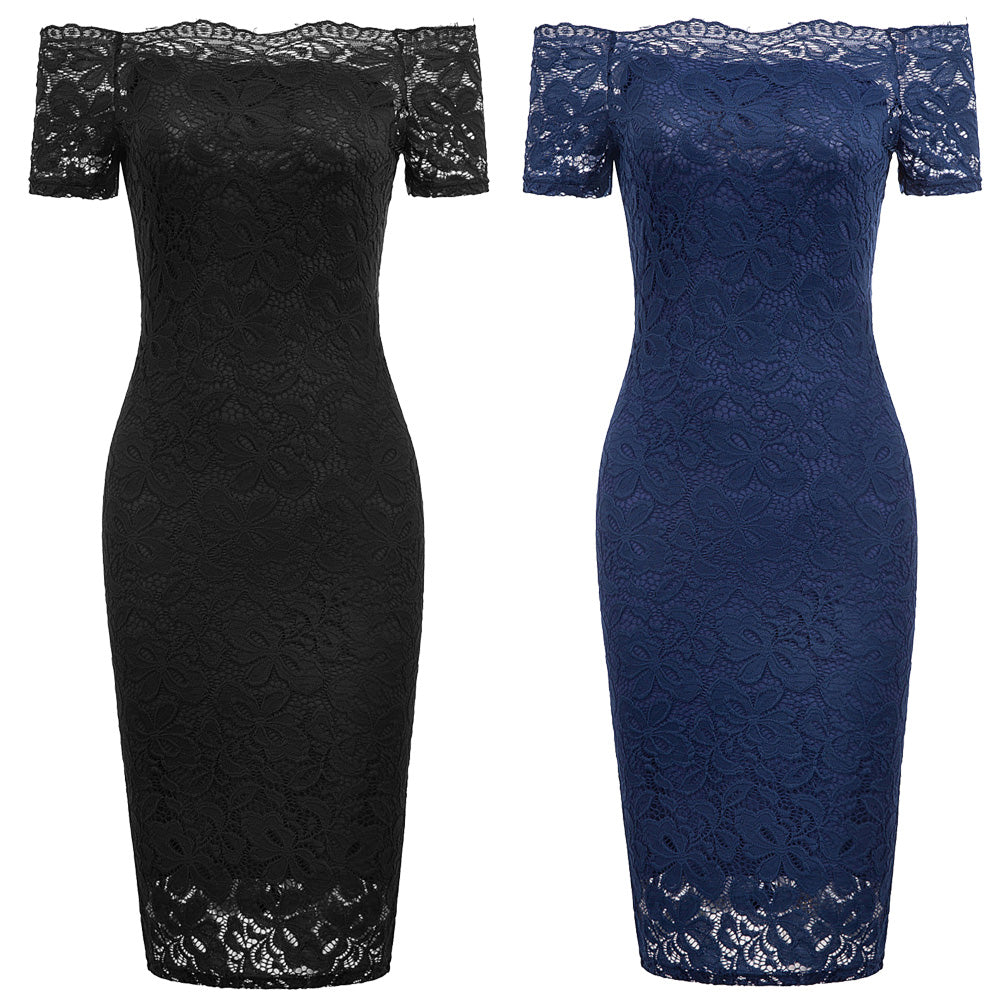 GK Sexy Women's Short Sleeve Off Shoulder Hips-wrapped Lace Bodycon Pencil Dress