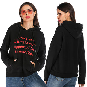 Women's Loose Long Sleeve Hoodie Letter Printed Loose Casual Pullover Tops
