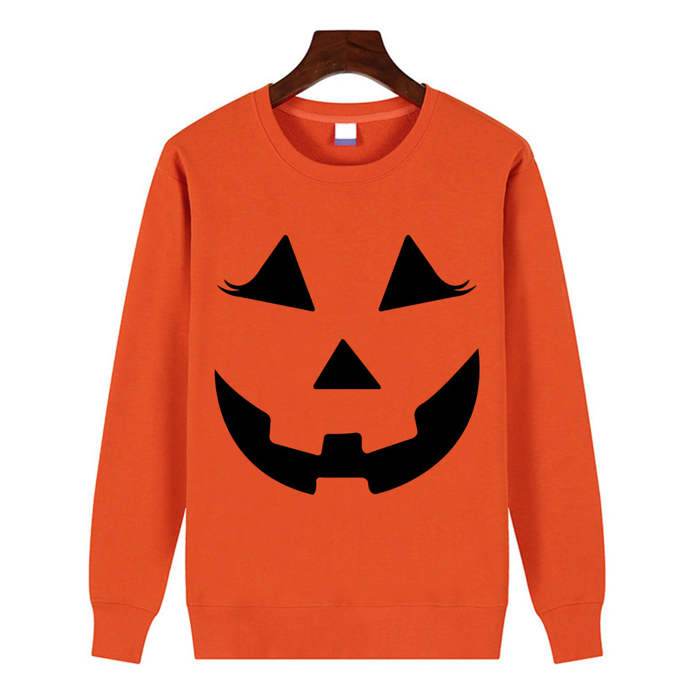 Women Tops Pullover New Pumpkin Smile Face Halloween Round Neck Fashion