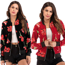 Load image into Gallery viewer, Women's Casual Slim Zipper Baseball Jacket Coat Long Sleeve Printed Cardigan