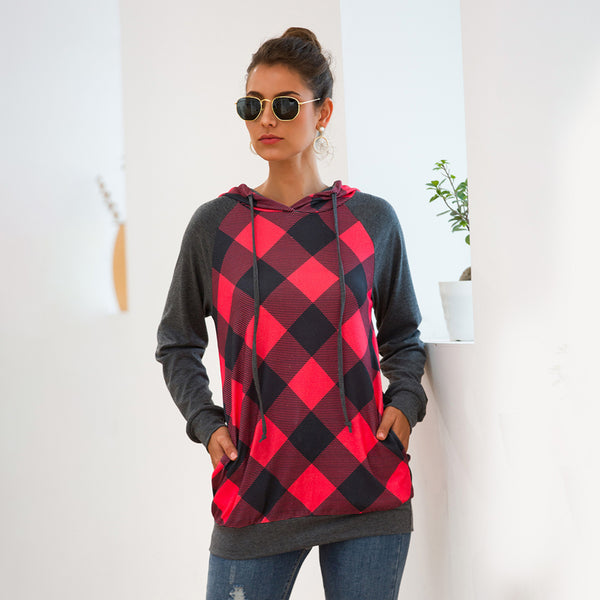 Women Tops Hooded Sweatershirt Plaid Splice Pocket Long Sleeve Fashion