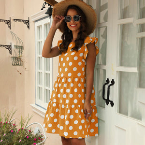 Women's Casual Cute Casual Wave Dot Print Round Neck Pullover Loose Dress