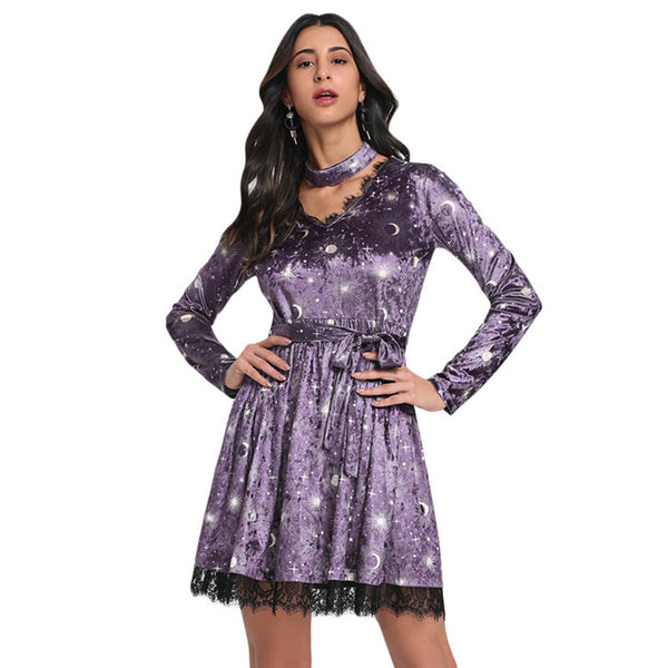 Women's Sexy Slim V-Neck Mini Pleuche Dress Long Sleeve Lace Trim Print Party - PRESALE