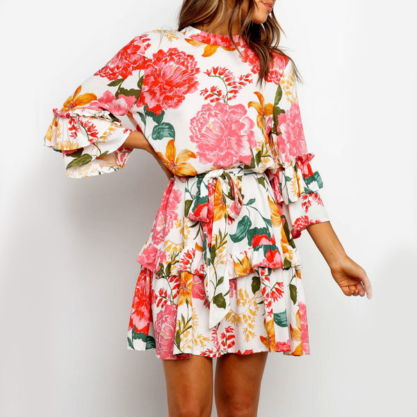 Fashionable Floral Round Neck Long Sleeve Dress - PRESALE