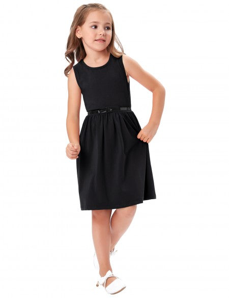 Grace Karin Sleeveless Round Neck A Line Flower Girls Dress_Black