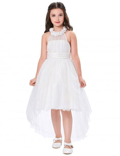 Four Layers High-Low Halter Sleeveless Princess Flower Girl's Dress