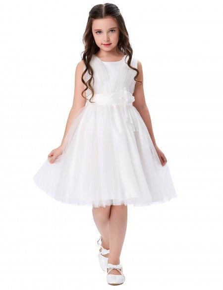Grace Karin Round Neck A Line Princess Multi Layers Soft Tulle Netting Flower Girl Dress With Flower_White