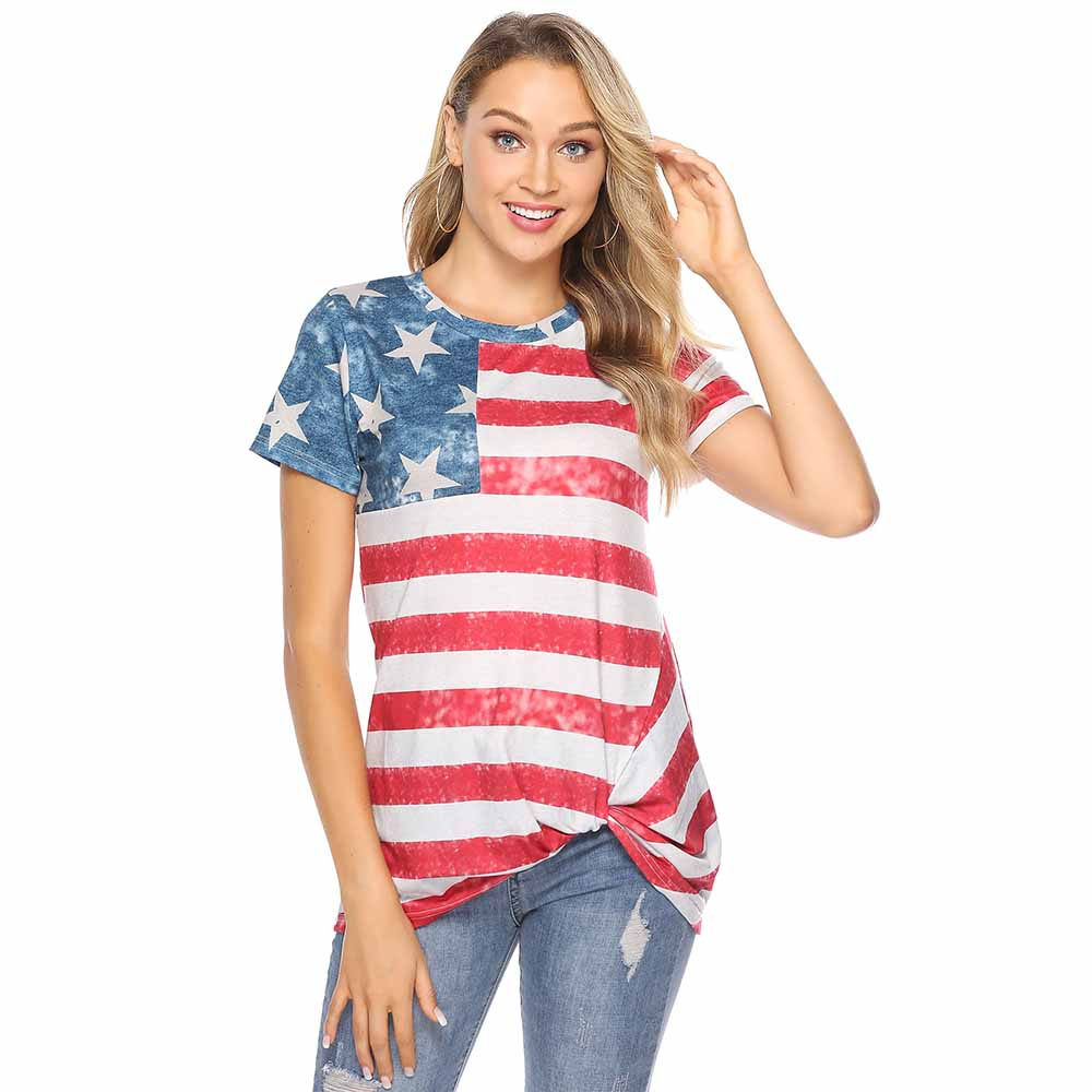 Women Summer Short Sleeve Flag Printing Round Neck Fashion New Tops Shirts