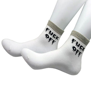 Mens Womens Fuck Off Printed Letter Socks