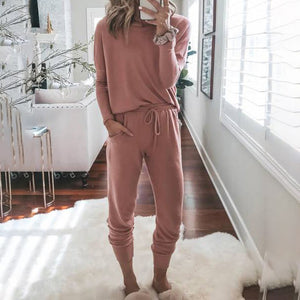 Solid Color Casual Long Sleeve Suit  Top + Trousers