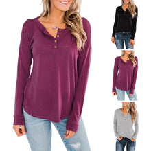 Load image into Gallery viewer, Women Casual Buttons Round Neck Tops Solid Color Long Sleeve T-Shirt Plus Size