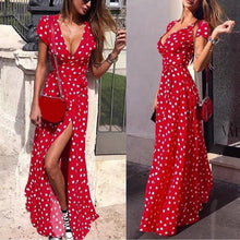 Load image into Gallery viewer, Women's Sexy Slim V-Neck Dress Short Sleeve Beach Holiday Party Split Polka Dots