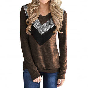 V-shaped Sequin Stitching Long-sleeved T-shirt
