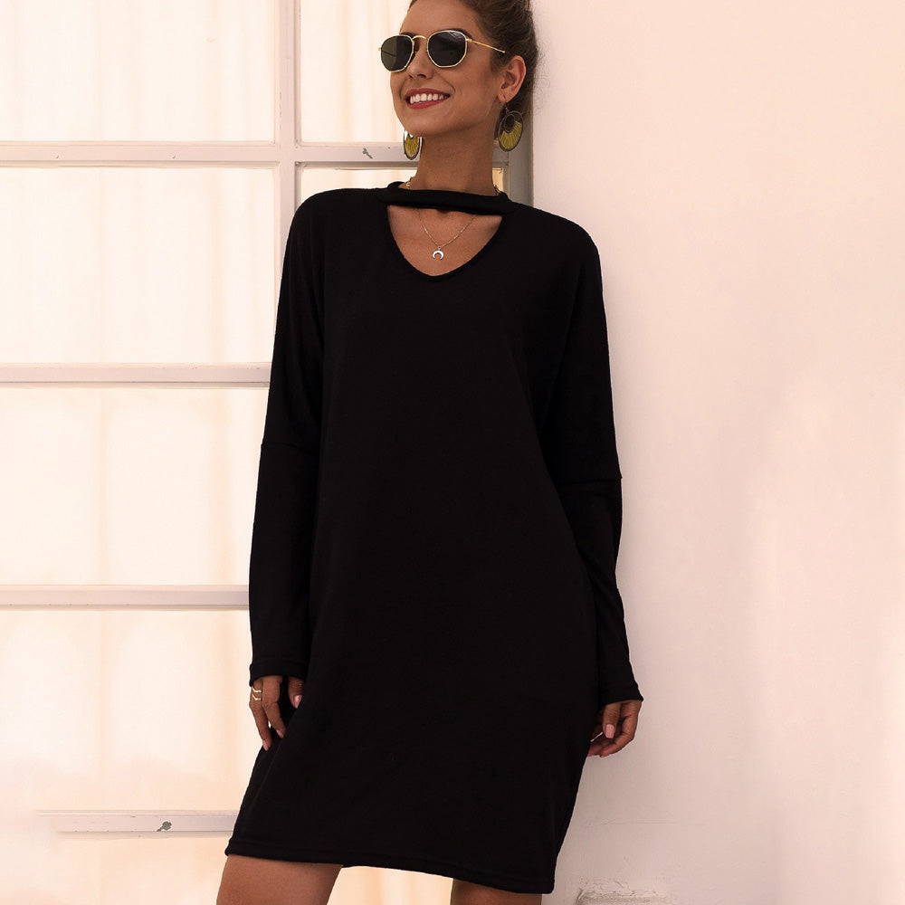 Women V-neck Long Sleeve Loose Knit Little Black Dress Hollow Out Casual