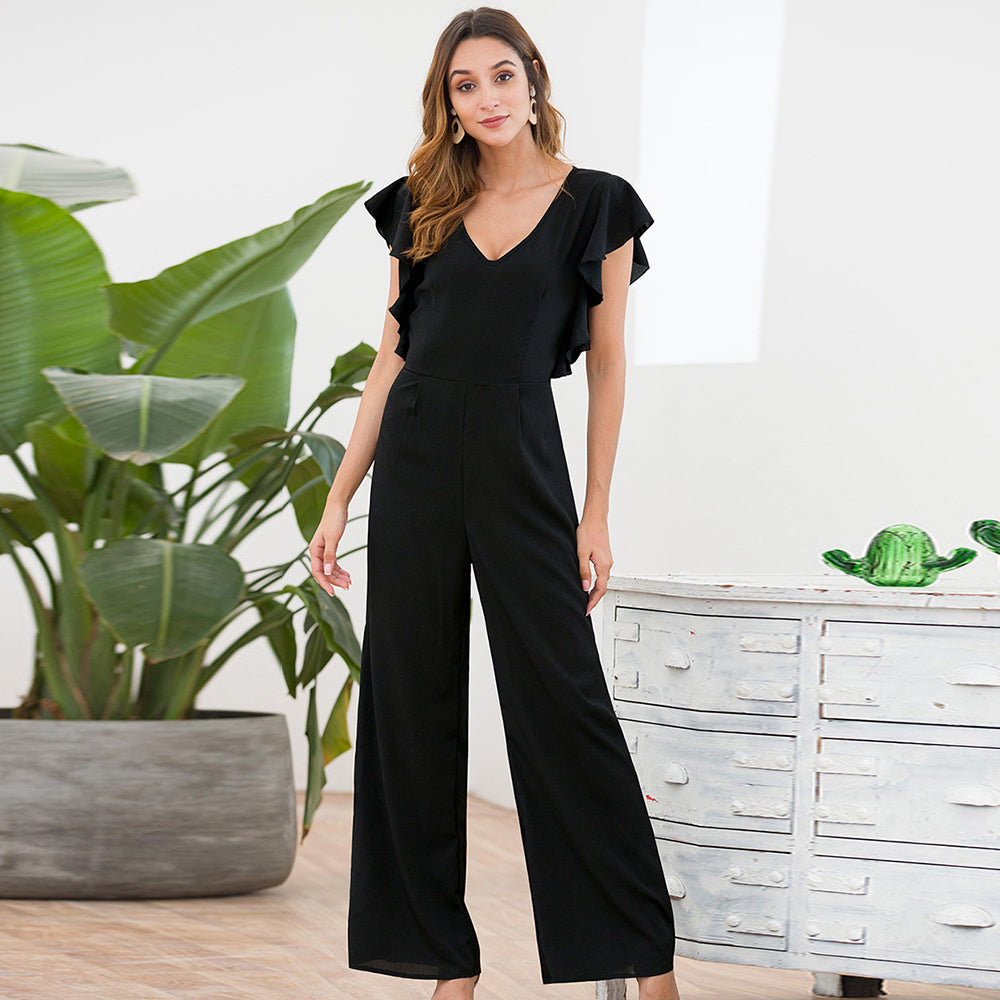Women Summer V-Neck Flutter Sleeve Ruffled Black Wide Leg Fashion Jumpsuit