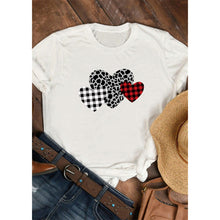 Load image into Gallery viewer, Checked Leopard Print Heart Sleeve T-Shirt