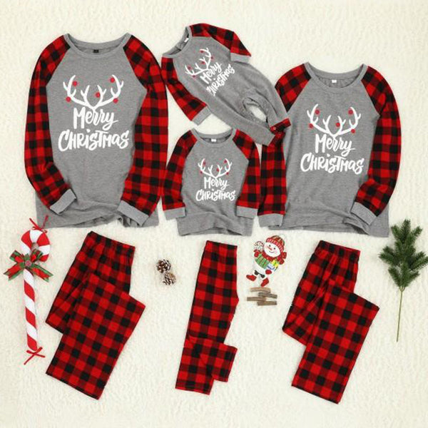 Family Matching Reindeer Print Plaid Merry Christmas Pajamas Set