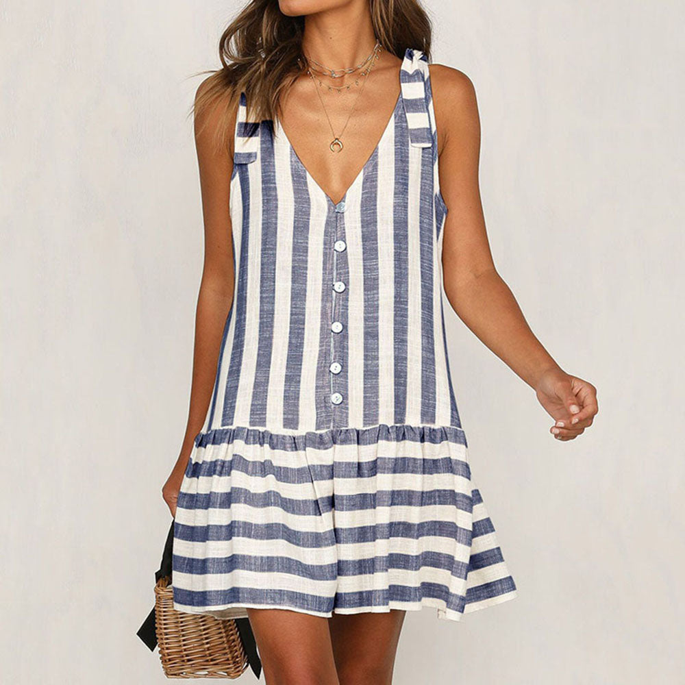 Women's Summer Mini Dress - V-Neck Sleeveless, Stripe, Button Down, Pleated