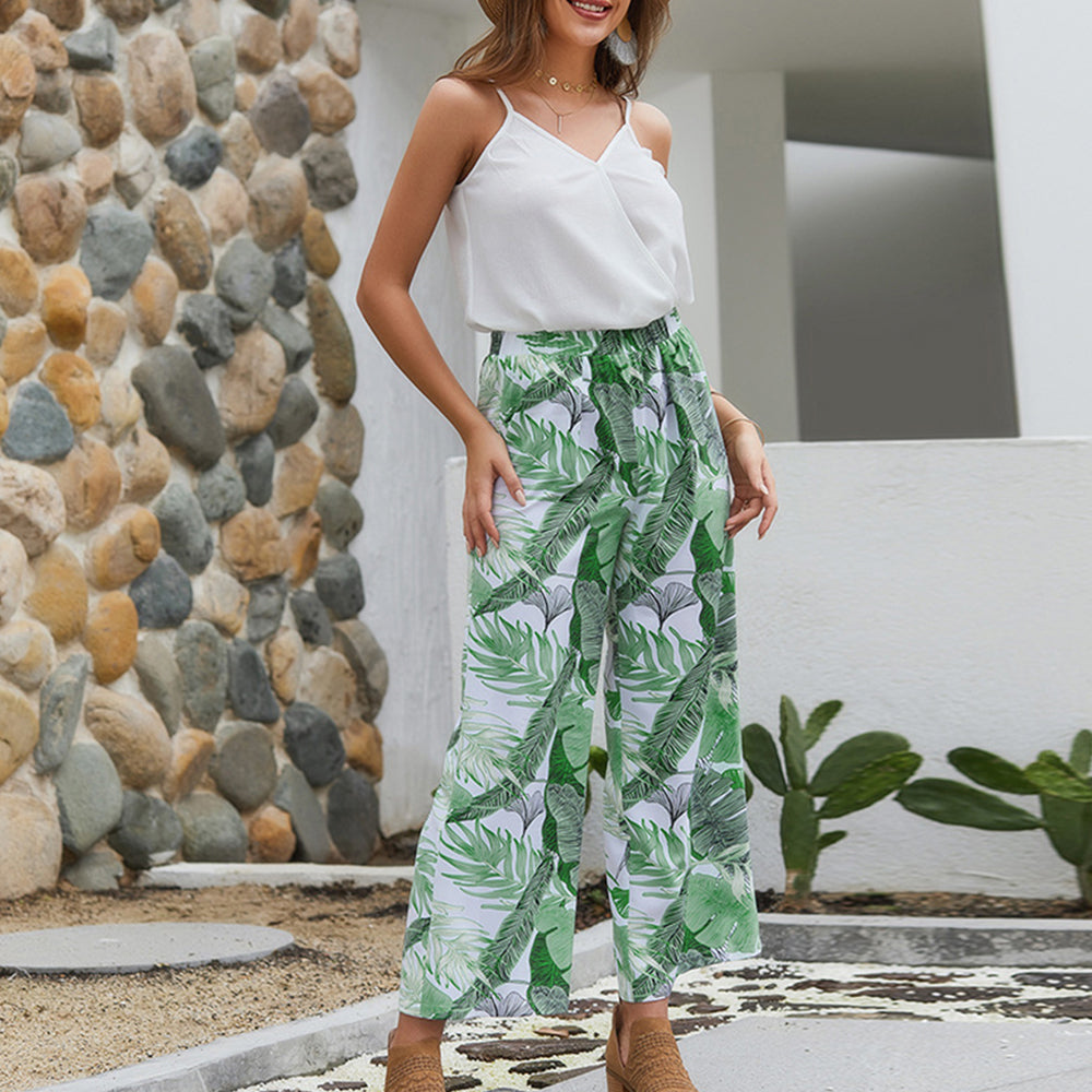 Women Summer White+Green Floral Camisole V-Neck Wide Leg Fashion Tops+Pants