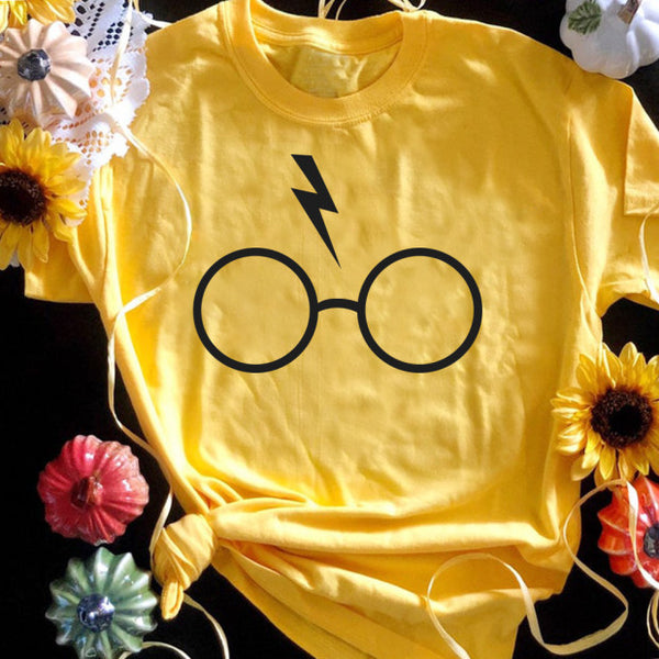 Happy Halloween Summer Wizard Brille Rundhals Kurzarm T-Shirts