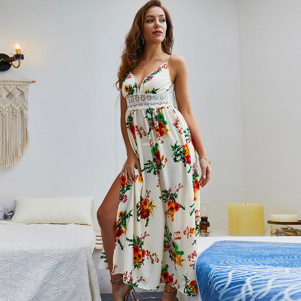 2019 Women's Summer Floral Dress - Hollow Backless, Sling and Lace