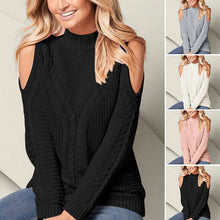 Load image into Gallery viewer, Women's Pullover Long Sleeve Sweaters - Round Neck, Solid Color