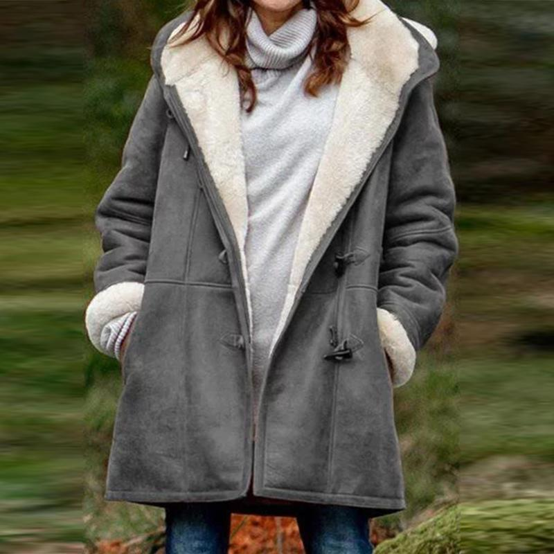 Women's Casual Warm Loose Parker Coat Pocket Jacket Plush Fur Lined Plus Size
