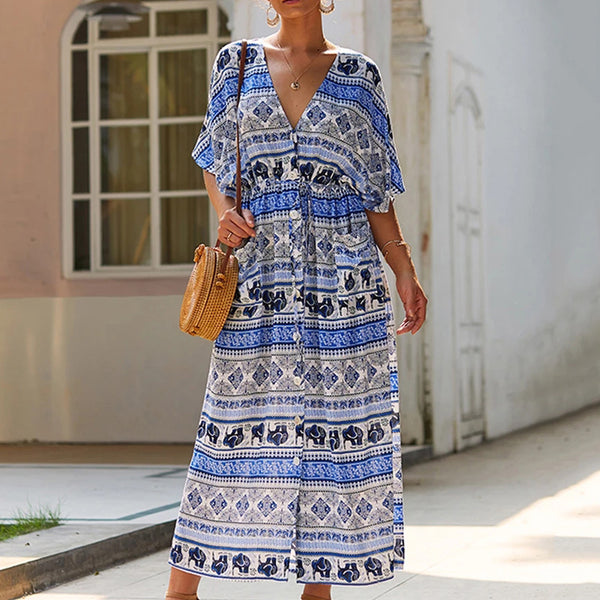 Women Summer V-Neck Midi Dress Boho Floral Split Half Sleeve Pocket Fashion - PRESALE