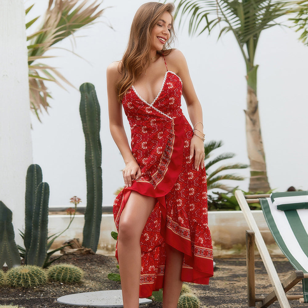 Women Summer Red Sling Floral Deep V-Neck Split Sexy Irregular Long Dress