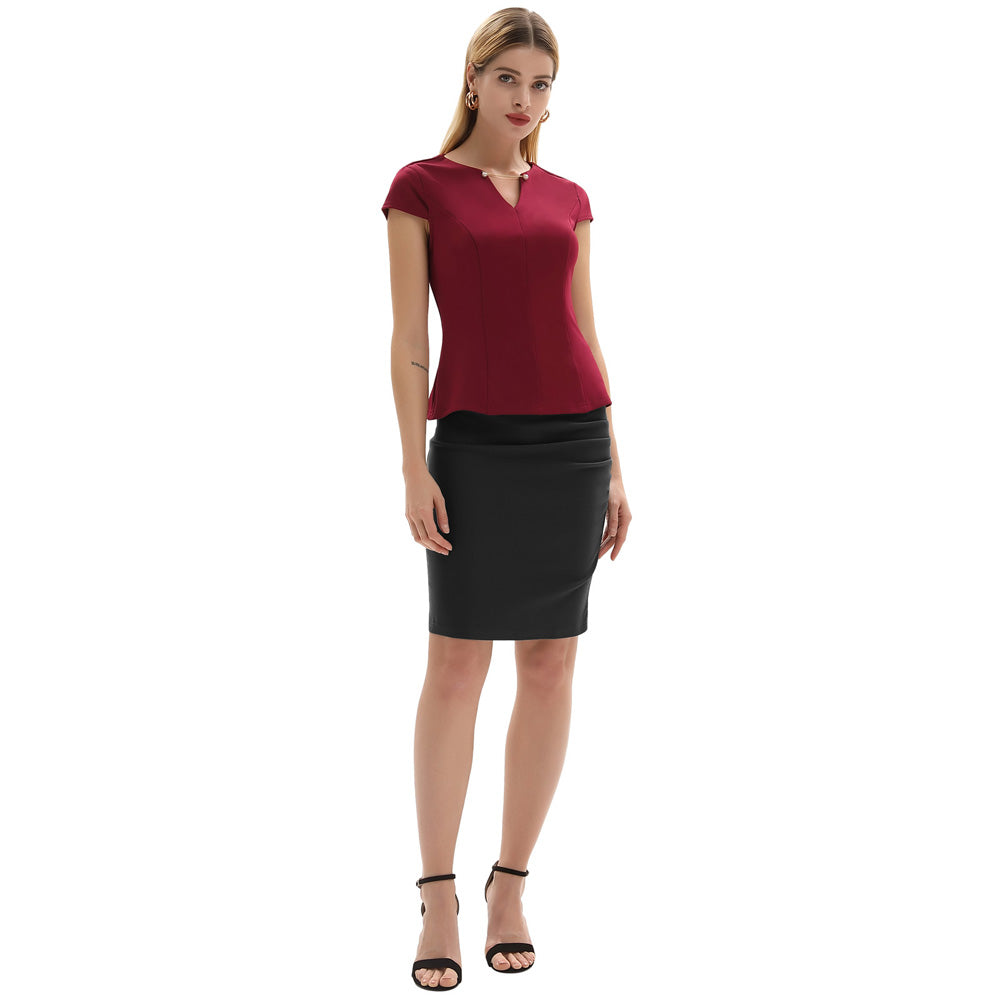 Women's Vintage Solid Color Ruched Front Hips-wrapped Bodycon Pencil Skirt - PRESALE