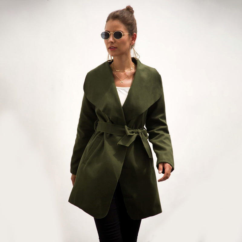 Women Lapel Waist Straps Coat Long Wool Blends Windbreaker Fashion Jacket