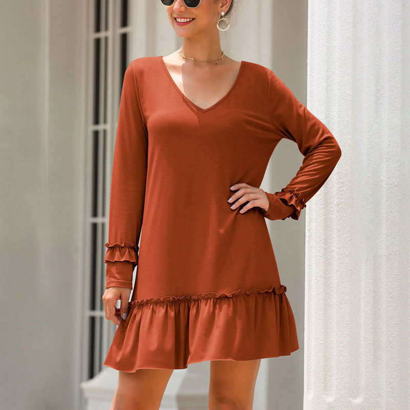 Women Above-Knee Dress Summer V-Neck Long Sleeve Ruffled Splice Solid Color