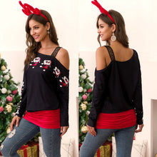 Load image into Gallery viewer, Women Lace Trim Stitching T-shirt Christmas Print Off-the-shoulder Tops