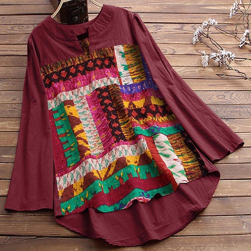 Women's Casual V-Neck Tops Pullover Loose Print Long Sleeve Shirt Breathable