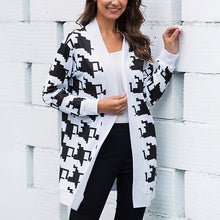 Load image into Gallery viewer, Women's Casual Slim Long Sleeve Coat Printed Knitted Cardigan Jacket Plus Size