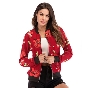 Women's Casual Slim Zipper Baseball Jacket Coat Long Sleeve Printed Cardigan