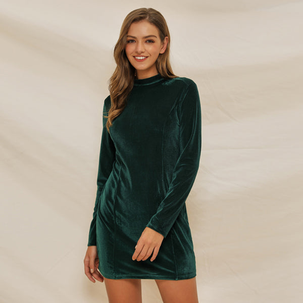 Women Girl's Elegant Slim Round Neck Long Sleeve Dress Above-Knee Thicken
