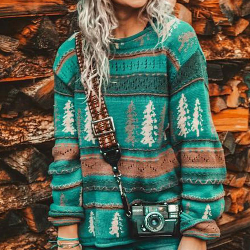 Christmas Casual Print Round Neck Pullover Sweater