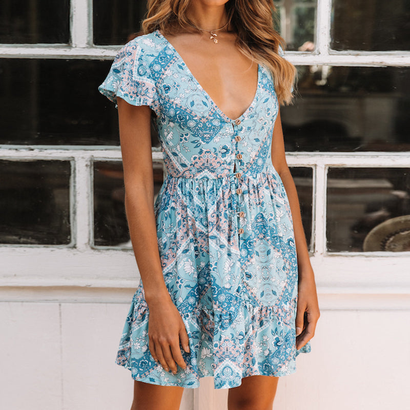 2019 Primavera Estate Donna Deep-V stampato manica corta Bohemian Floral Beach Dress