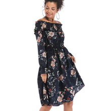 Load image into Gallery viewer, Women's Retro Off Shoulder Dress Floral Long Sleeve High Waist Beach Holiday