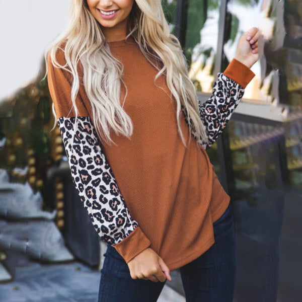 Leopard Round Neck Long Sleeve Casual Top