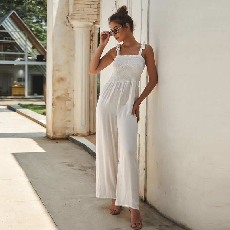 Summer Women's Elegant Comfortable Commute Sexy Solid Color Sling Jumpsuit