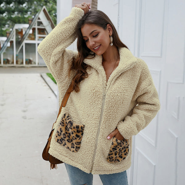 Women Coat Jacket Autumn Winter Lapel Leopard Pocket Plush Zipper Fashion