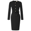 GK Women's Long Sleeve Buttons Decorated Hips-Wrapped Bodycon Pencil Dress