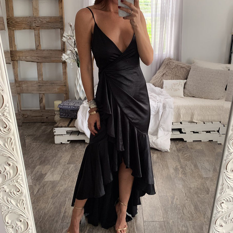 Fashion Women Sexy Sling V-neck Sleeveless Long Evening Party Dress Skirt
