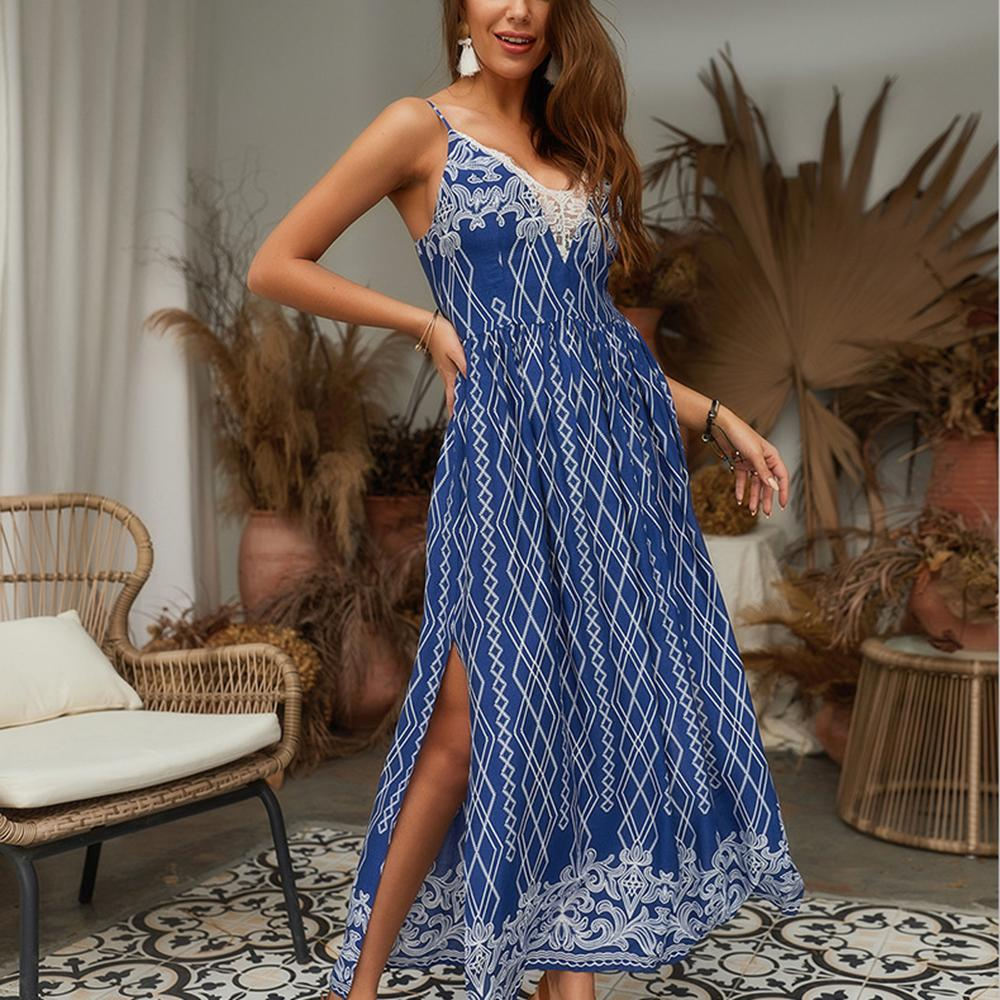 Women's Summer Party Long Dress - V-Neck, Lace, Splice, Sling