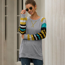 Load image into Gallery viewer, Women Splice Stripe T-Shirts Tops Long Raglan Sleeve Round Neck Casual